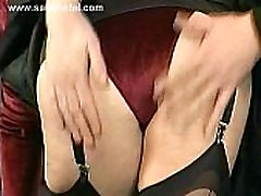 Boss in latex pants undresses her sexy secretary and pulls on her nipples of her big tits