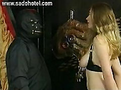 Master hits slave with great body and nice tits with his hands and a whip on her ass
