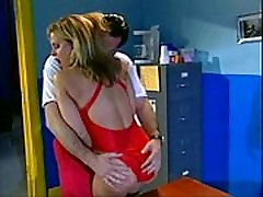 Busty lifeguard babe fucking her boss in the office