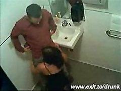 girl in Spanish bar sucks a cock in the toilet