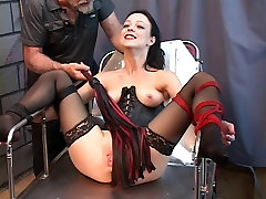 Cute young brunette is restrained with ropes sunny neolo xxxx tortured with whips