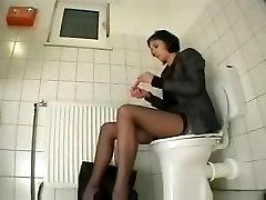 My friend visiting us masturbates in toilet. Hidden cam