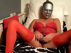 When I made this cop gangbang force dildo porn, I was in slutty red clothes, treating my clitoris with a big vibrator.