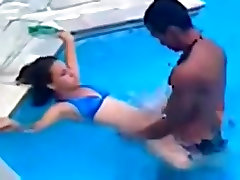 Latina fucks her bf in the pool and in the shower