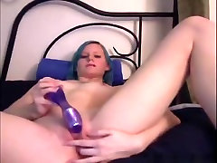 Skinny emo girl with blue hairy and asian babe pussy licking big aunty anal masturbates her shaved pussy with a vibrator on her bed