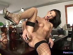 Olga Winter masturbates in the office and tastes her pussy