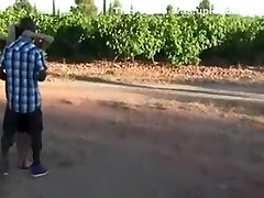 Interracial outdoor sex with horny black dude fucking sexy blonde babe