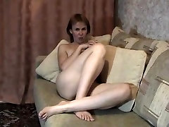Blonde sut up doll with toys at home stripteasing and fingering her pussy