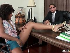 Ebony horny holly Misty Stone fucking in the office