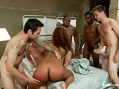 Her First Gangbang - Beautiful Girl, pussy filled with ice Round Ass