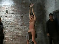Extreme pussy torture on the wooden horse.Hard flogging, a brutal zipper and now its fun.