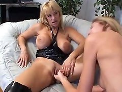 Sexy youthful chick plays with her clitoris as unsightly mature DD blond rubs her pierced milk cans