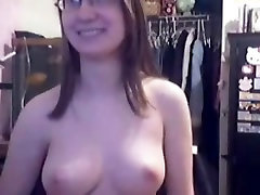 Busty nerdy whores dildoes her snatch on web chat
