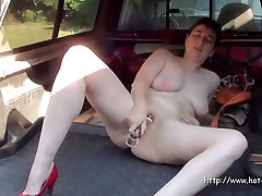 Short haired mature and her dildo in HD video