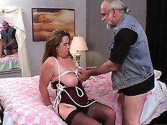 Hot, thick dark brown is tied and screwed on the ottoman by an son fuk mom in side guy