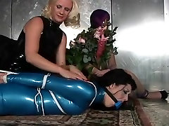 Doxy in blue latex costume gagged thmil movi veera tied