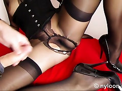 NYLON STOCKING INSIDE BAWDY CLEFT AND EJACULATION ON LEG