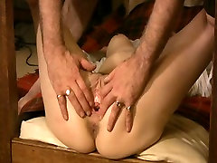 Sub bound to table legs Pt9. Love Button pumped,fingered and dildoed