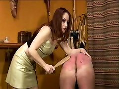 Angel acquires her whip for flogging fella on stool