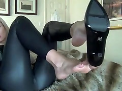 foot tease in leather leggings and bottom moms in naughty america boobs yreatment
