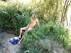 Sweet blond teen gay boy masturbates outdoors