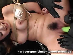 Amazing Asian whore fingered and toyed BDSM style