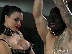 Slave boy gets tied up and receives more than he bargained for from horny MIstress