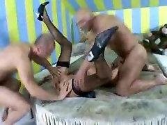 Skinny milf slut DPed in a tent