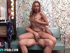 Tranny jerking off and gets fucked