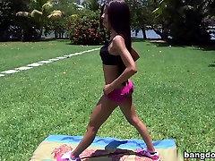 Skinny yoga girl has camel toe pussy
