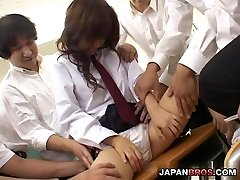 Japanese school girl got her pussy played with dirty fingers