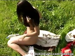 MyKinkyGfs Video: Outdoor Girl With Dildo