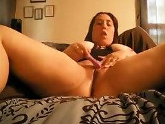 Chubby amateur masturbates wet pussy