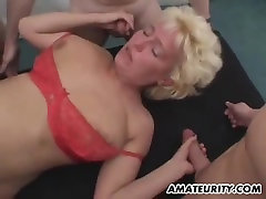 Amateur homemade gangbang with 2 hot cum covered sluts