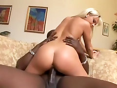 Monstrous black dick pounds busty white blonde