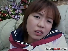 Asian schoolgirl in news annoucer creampie rubbing her tits and hairy slit