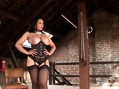 Busty sanny liony fuking video teases and milks her slave