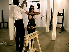 Busty brunette enjoys a latex learning sex lessons fun