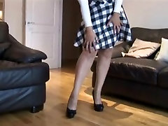 Busty mature in pantyhose,hairy cunt