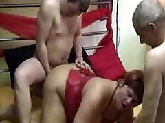 Chubby german amteur mature threesome with facial