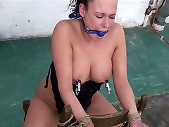 Vixen bound gagged stripped lesbo austrian whipped nipple-clamped vibed