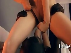 Crazy lesbians in nylon suits having sex