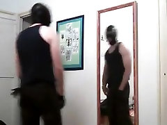 Masked Guy Jerks In Mirror, Cums at british calvary