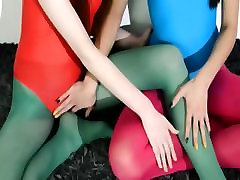 Hairy lesbians in zig zag hair lingerie loving