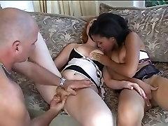 2 hotties gangbanged by impure man