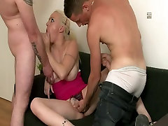 Busty blonde and two big dicks in HD video