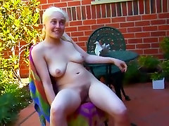 Blonde unshaven girl shows off