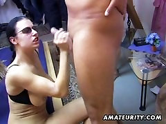 Amateur group mature teacher with son: 2 chicks and 4 dicks !