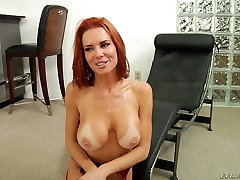 Blonde and readhead show their big tits in porn video