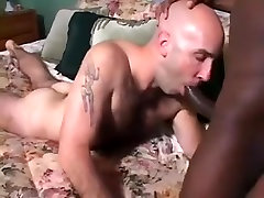 Bald Hairy white guy has sex with feminine black guy hung